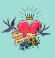 holiday with heartflowersgold crown vector image vector image