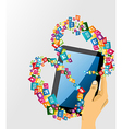 Human hand with tablet pc social media icons vector image vector image