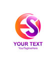 initial letter es logo template colorfull circle vector image vector image