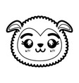 isolated cute sheep face vector image vector image