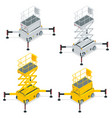 isometric yellow engine powered scissor lift vector image vector image