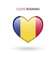 love romania symbol flag heart glossy icon on a vector image vector image