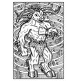 minotaur monster and labyrinth engraved fantasy vector image