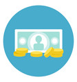 money icon bank note with coins web button on vector image