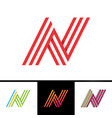 n letter formed parallel lines design template vector image