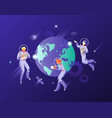 people in spacesuits around globe vector image