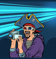 pirate shoots and watches adventure movies vector image vector image
