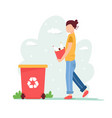 recycling concept young girl with sorted garbage vector image