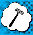 safety razor sign black icon in bubble on vector image vector image