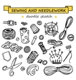 Seamless doodle sewing and needlework set vector image