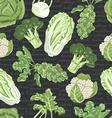 Seamless pattern with different varieties of vector image