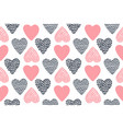 seamless pattern with hand drawn valentine hearts vector image vector image