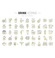 Set Flat Line Icons Drinks and Alcohol vector image vector image