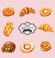 set of baking croissant bagel strudel cookies vector image