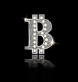 silver bitcoin sign on black background vector image