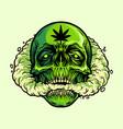 skull smoking a marijuana vector image vector image
