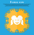 smiling girl icon Floral flat design on a blue vector image