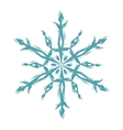 Snowflake linocut style logo in blue and white vector image vector image