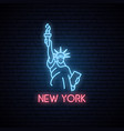 statue of liberty neon icon vector image vector image