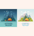 summer camping morning and night graphic posters vector image vector image