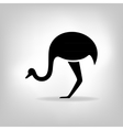 The black stylized silhouette of an ostrich vector image vector image