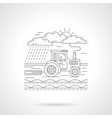 Tractor in a field flat line icon vector image vector image