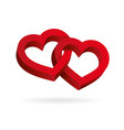 two hearts intertwined on white background vector image vector image