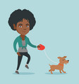 young african-american woman walking with her dog vector image