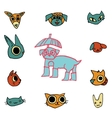 cartoon flat animals set icon stickers vector image