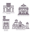 architecture landmarks san marino in thin line vector image vector image