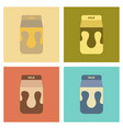 assembly flat icons coffee carton of milk vector image vector image