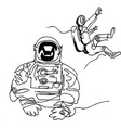 astronauts in spacesuit in space continuous line vector image vector image