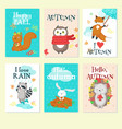 autumn animal card set isolated vector image vector image