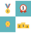 award winner icons set include medal vector image