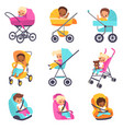 baby carriage children in kids strollers boys vector image vector image