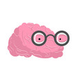 brain glasses genius of human brains egghead mind vector image vector image