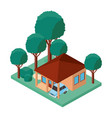 building and car scene isometric vector image vector image