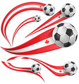 canada flag set with soccer ball vector image
