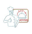 chef thumbs up hot food neon sign vector image vector image