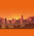 city skyline silhouette at sunset or sunset vector image vector image