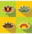 Color flat flowers with dark long shadow vector image vector image
