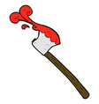 comic cartoon bloody axe vector image vector image