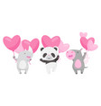 cute animals holding heart shaped pink balloons