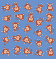 cute monkeys pattern background vector image vector image