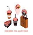 Delicious Food order Dessert Cake Donut Coffee Tea vector image