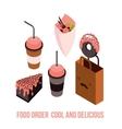 Delicious Food order Dessert Cake Donut Coffee Tea vector image vector image