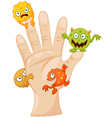 Dirty palm with cartoon germs vector image vector image