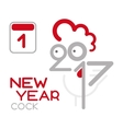 doodle cock with 2017 new year vector image