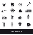 fire brigade icons set eps10 vector image