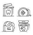 floss dental icon set outline style vector image vector image